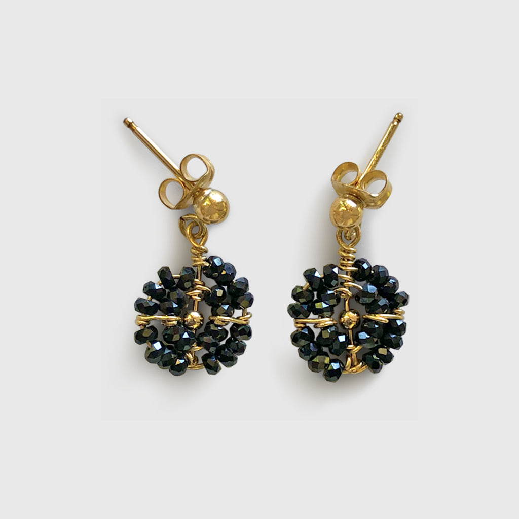 Utulivu Beaded Disk Earrings [ black spinel ]