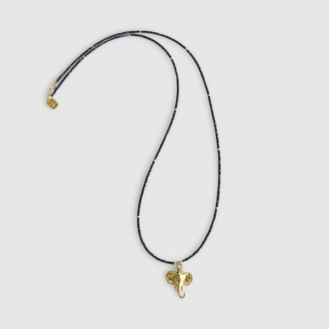 Utulivu Long Necklace With Elephant [black spinel]