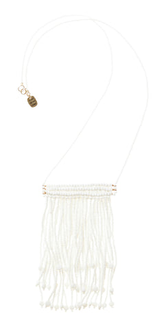 Triple Tassel Necklace - White