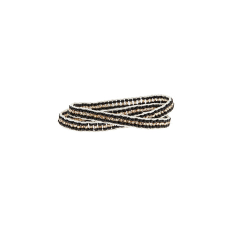 Stripe Warrior Wrap Bracelet - BLACK/GOLD