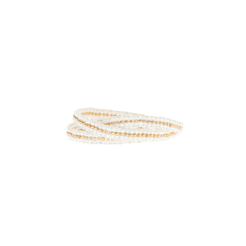 Stripe Warrior Wrap Bracelet - WHITE/GOLD