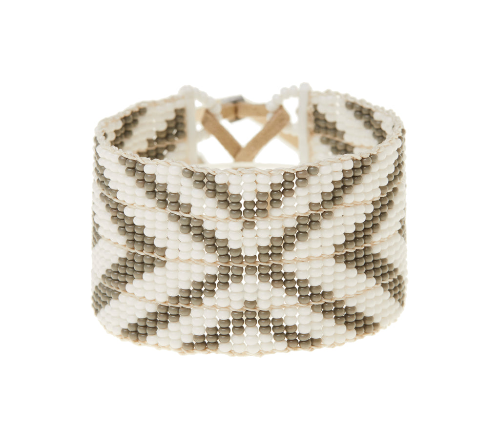 Multi V Warrior Bracelet - GREY/WHITE