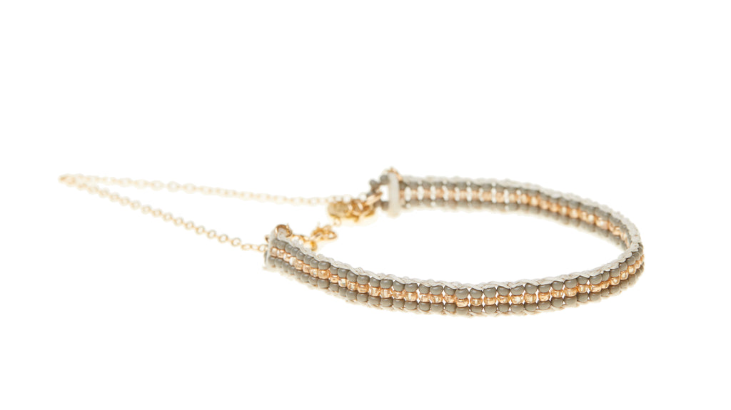 XS Stripe Warrior Chain Bracelet - GREY/GOLD