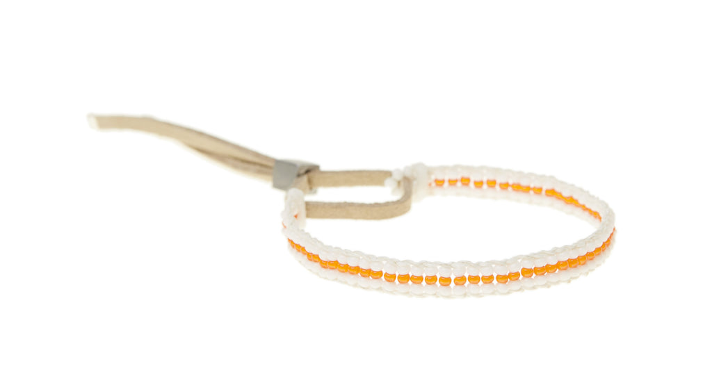 XS Stripe Warrior Bracelet - WHITE/NEON ORANGE