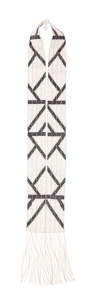 Rhombus Warrior Tassel Necklace - WHITE/BLACK