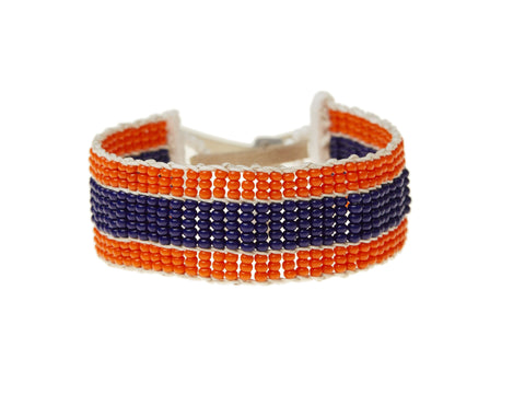 Narrow Stripe Warrior Bracelet - ORANGE/NAVY