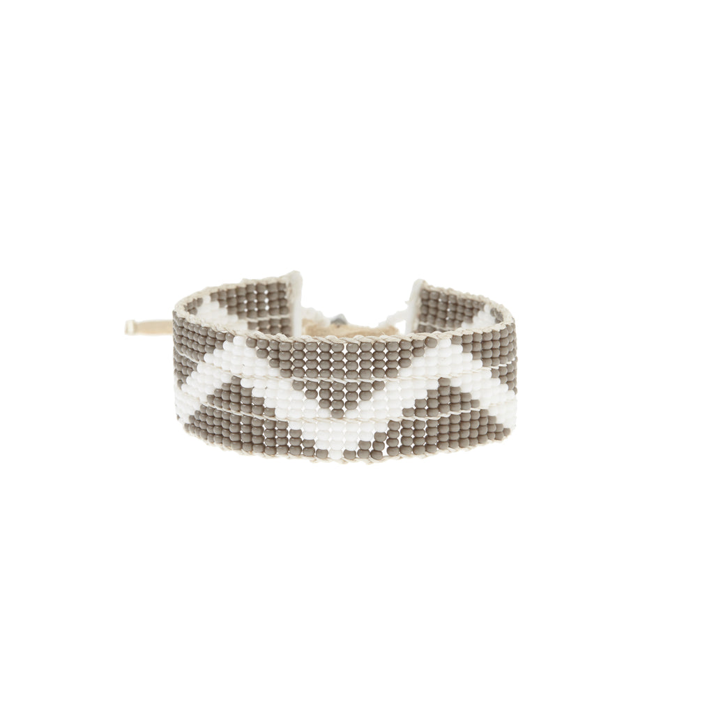 Narrow Zig Zag Warrior Bracelet - GREY/WHITE