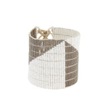 Wide Geometric Warrior Bracelet - WHITE/GREY
