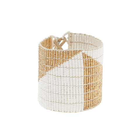 Wide Geometric Warrior Bracelet - WHITE/GOLD