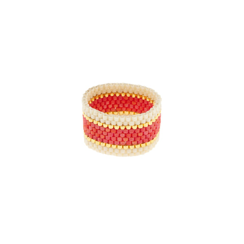 Wide Woven Ring - CORAL/CREAM