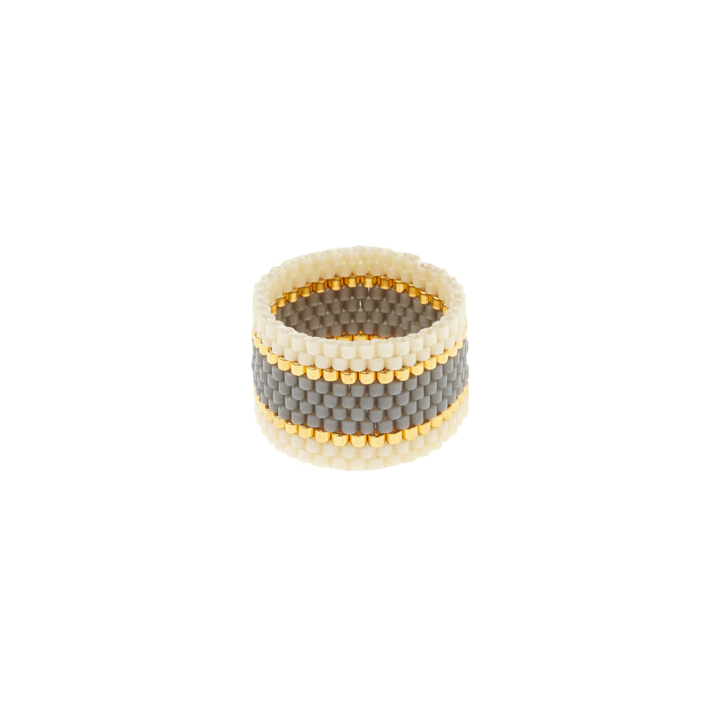 Wide Woven Ring - GREY