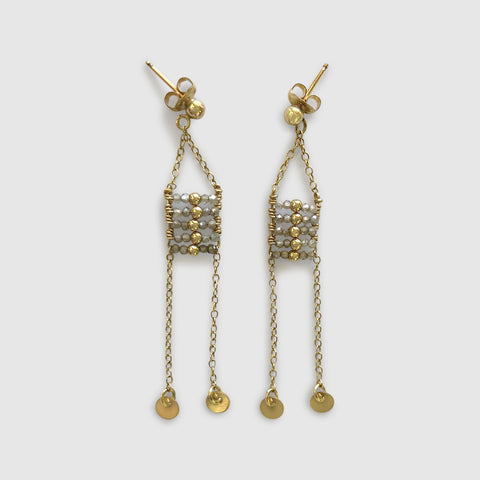 Busara Small Hoop Earring With Beaded Disk
