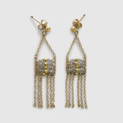 Busara Pendant Earring With Tassels [ zircon ]