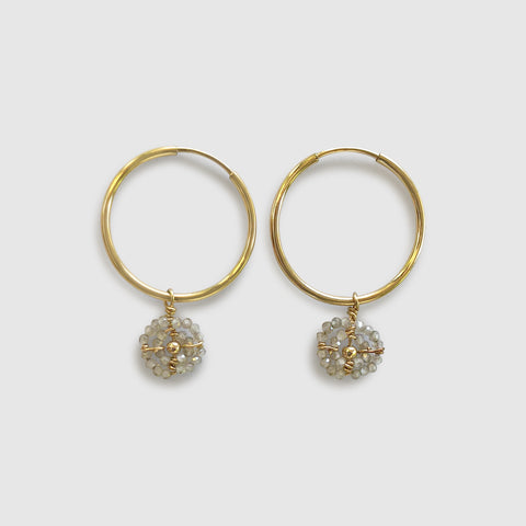 Busara Small Hoop Earring With Beaded Disk [zircon]