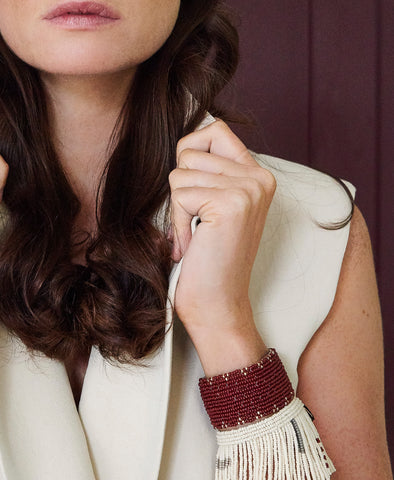 Narrow 3 Dot Triangle Leather Bracelet - BURGUNDY