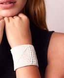 Wide Leather Cuff - WHITE