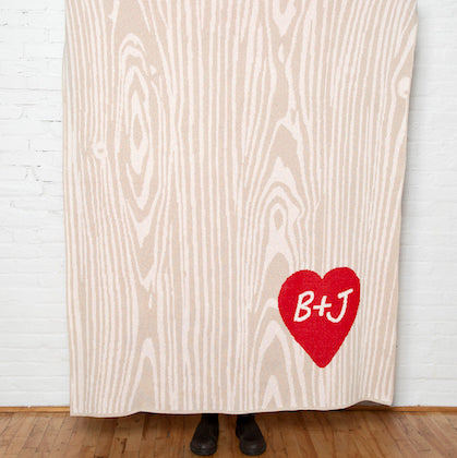 Eco Woodgrain Heart Personalized Throw