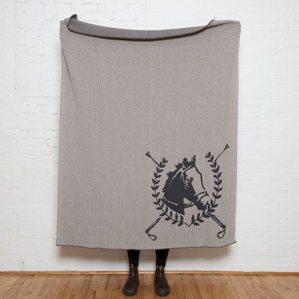 Eco Herringbone Horse Crest Throw