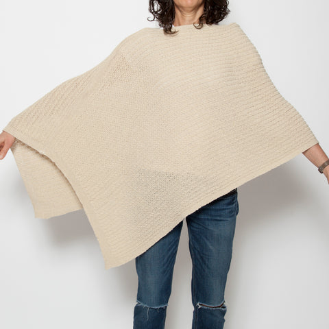 Eco Small Cable Knit Poncho