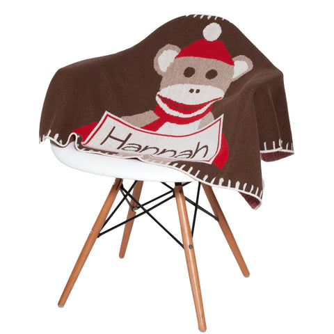 Eco Baby Sock Monkey Personalized Throw