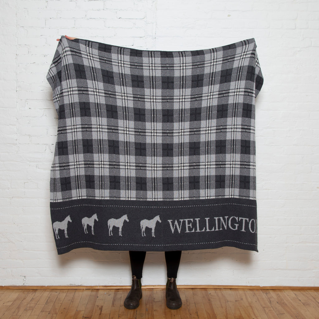Eco Plaid Horse Personalized Throw