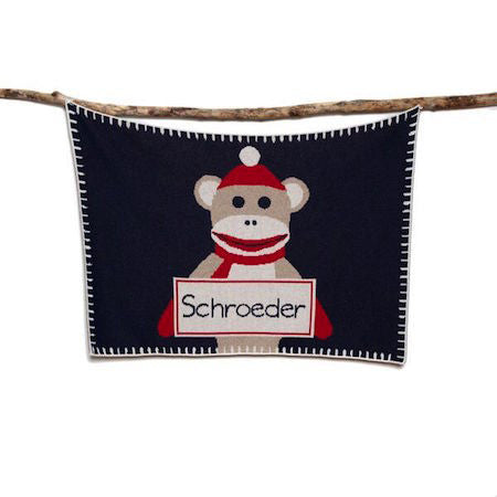 Eco Sock Monkey Personalized Throw