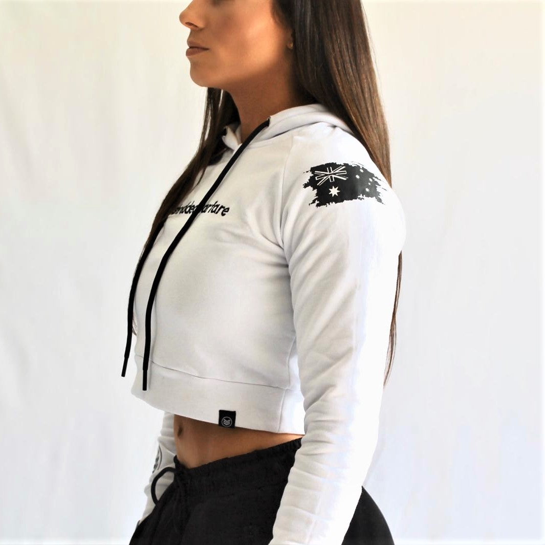 ANF Crop Hoodie - White