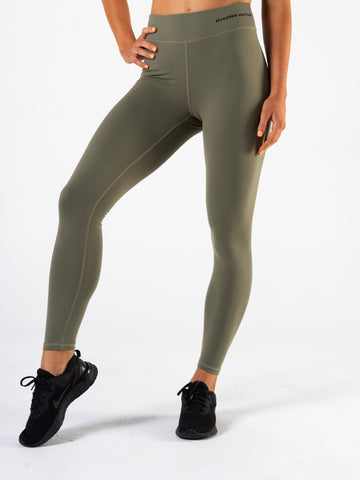 Ladies-Semi-Scrunch-Leggings-Khaki-Green-Front-Shredded-Warfare
