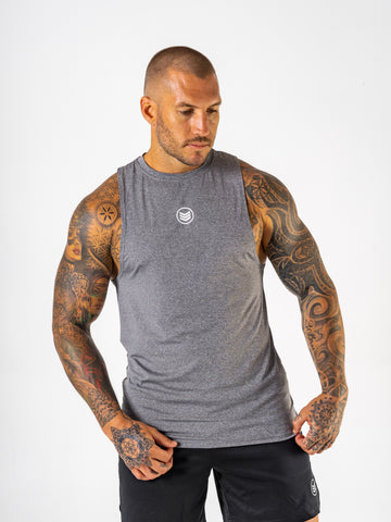 Mens-BodyFitTank-Front-Grey-Shredded-Warfare