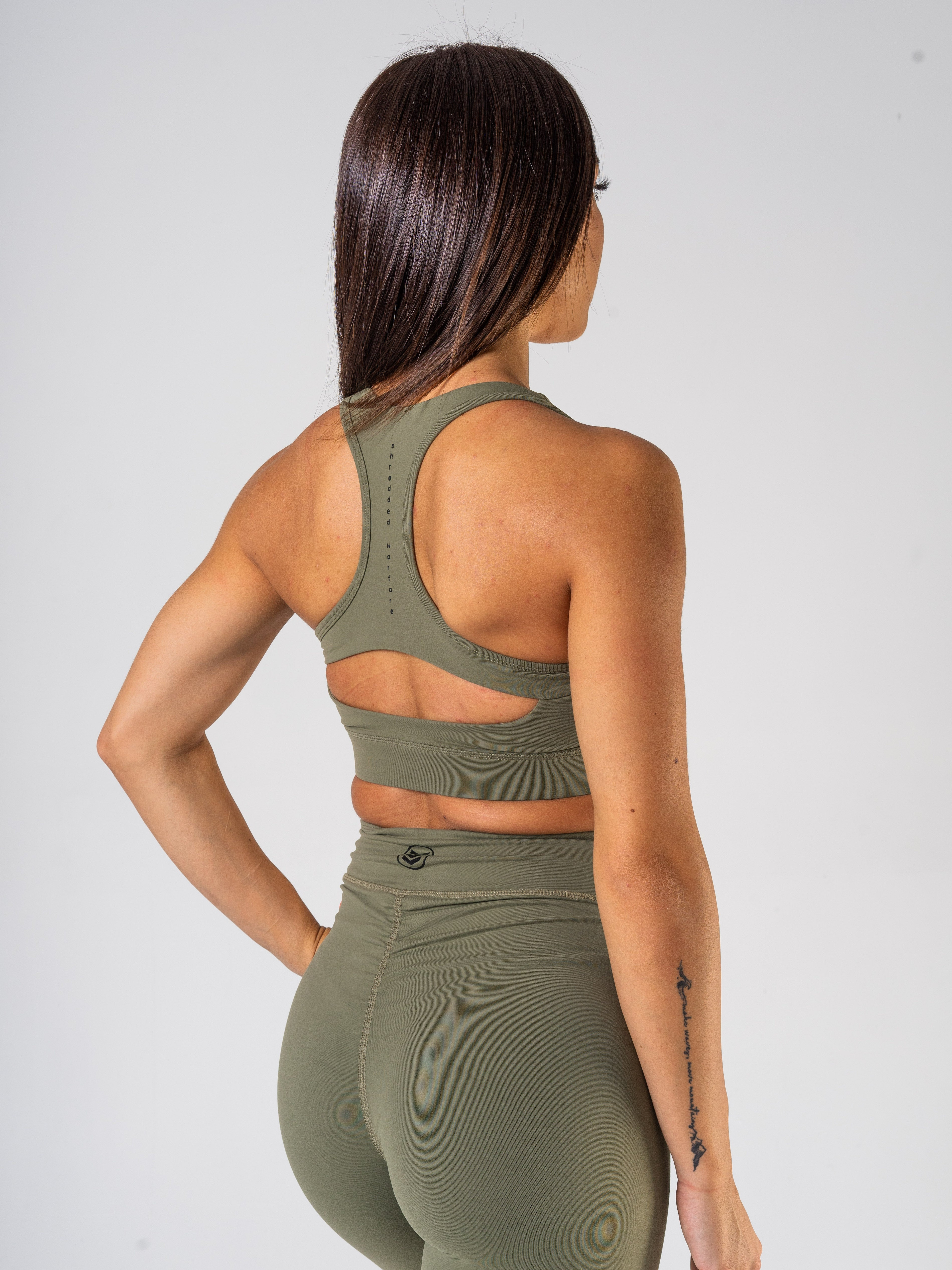 Ladies-U-Sports-Bra-Khaki-Green-Back-Shredded-Warfare