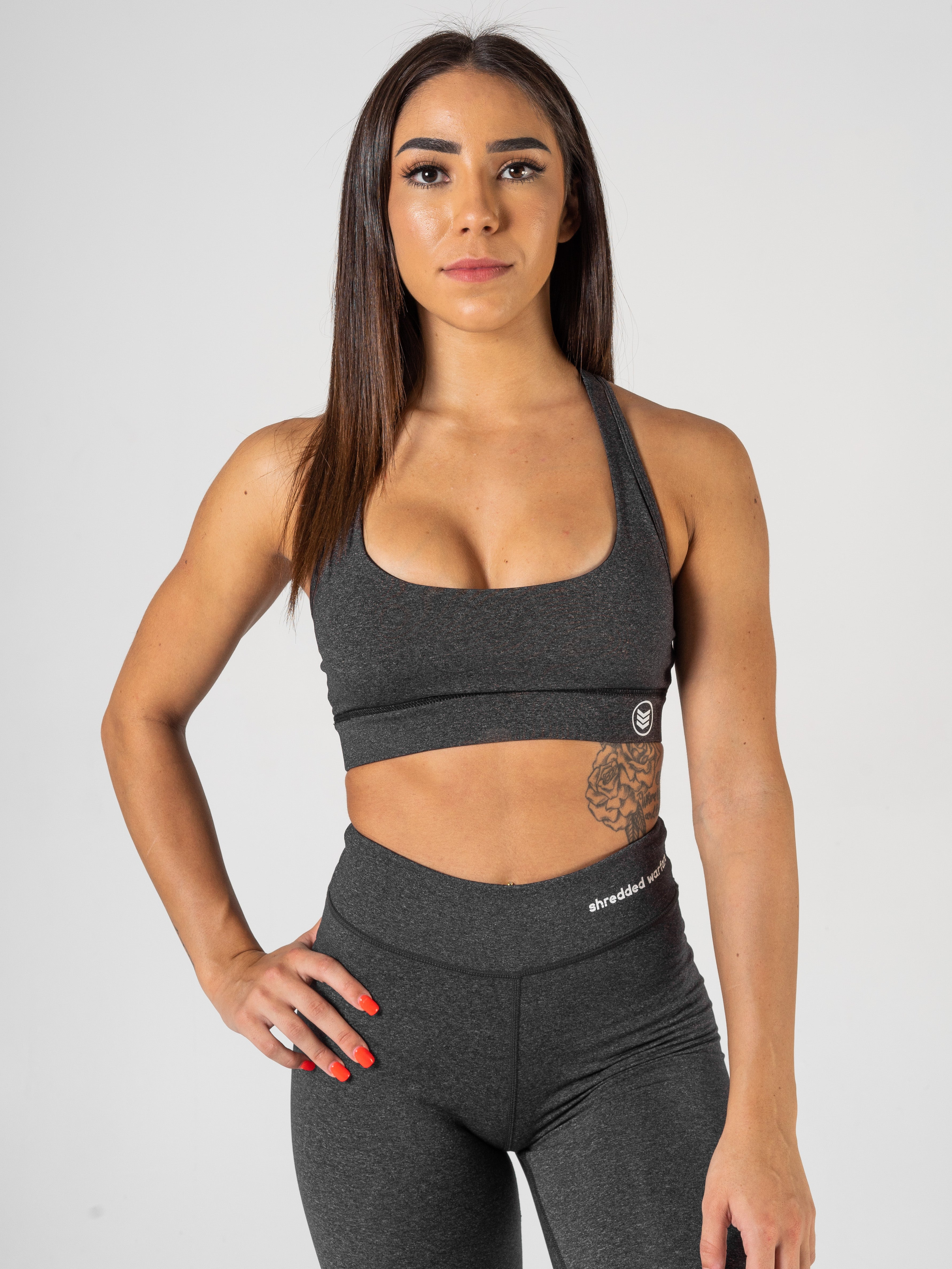 Ladies-U-Sports-Bra-Charcoal-Front-Shredded-Warfare