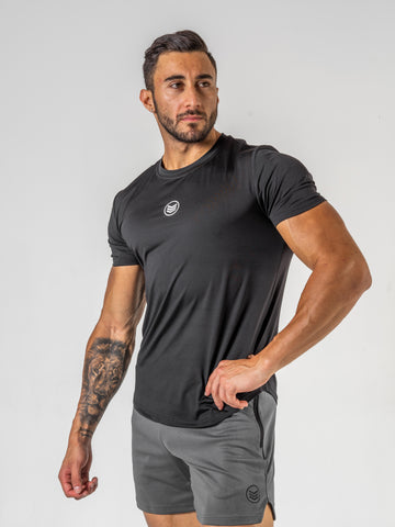 Mens-BodyFit-Tee-Front-Black-Shredded-Warfare