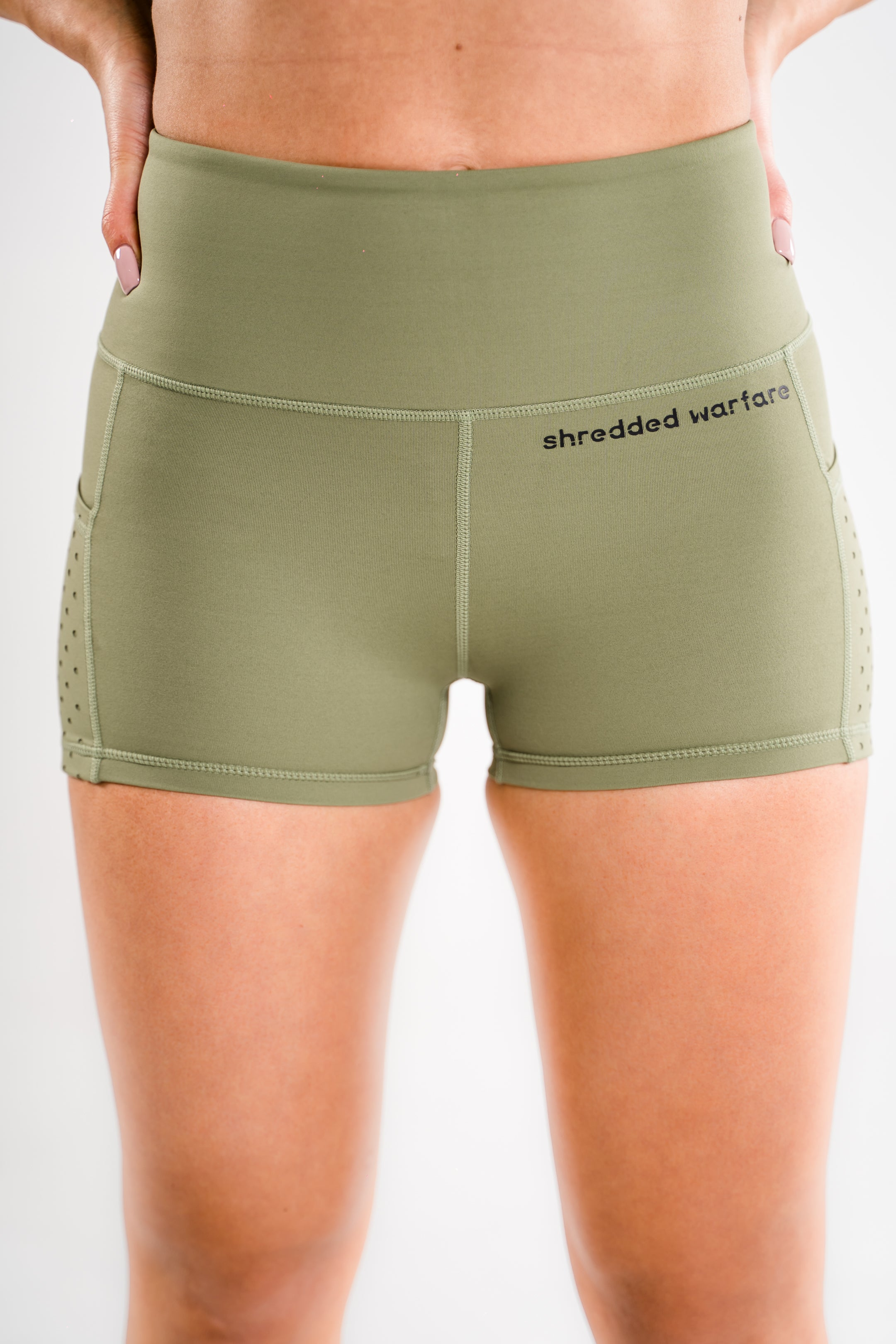 Ladies-OG-Training-Shorts-Khaki-Green-Front-Shredded-Warfare