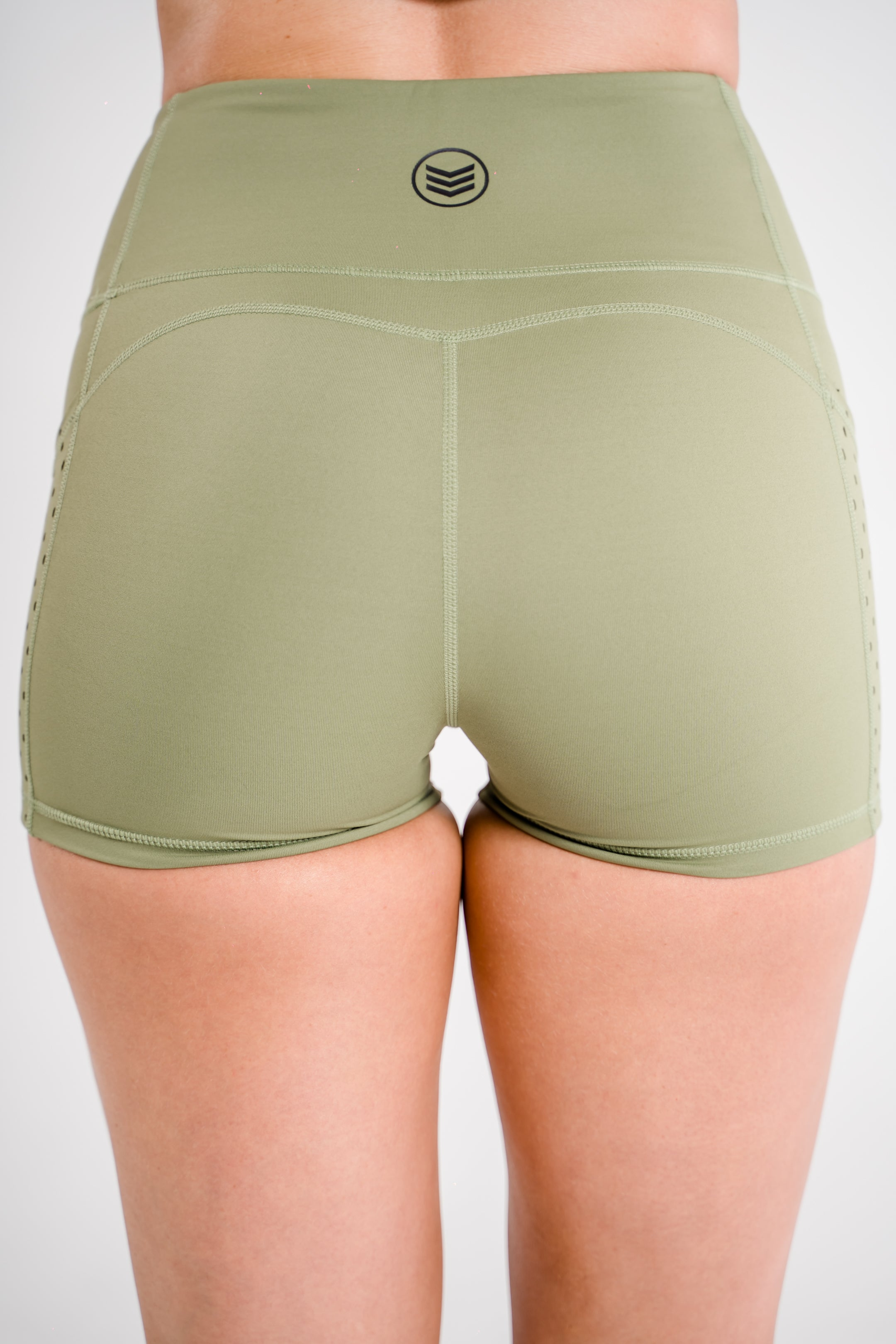 Ladies-OG-Training-Shorts-Khaki-Green-Back-Shredded-Warfare