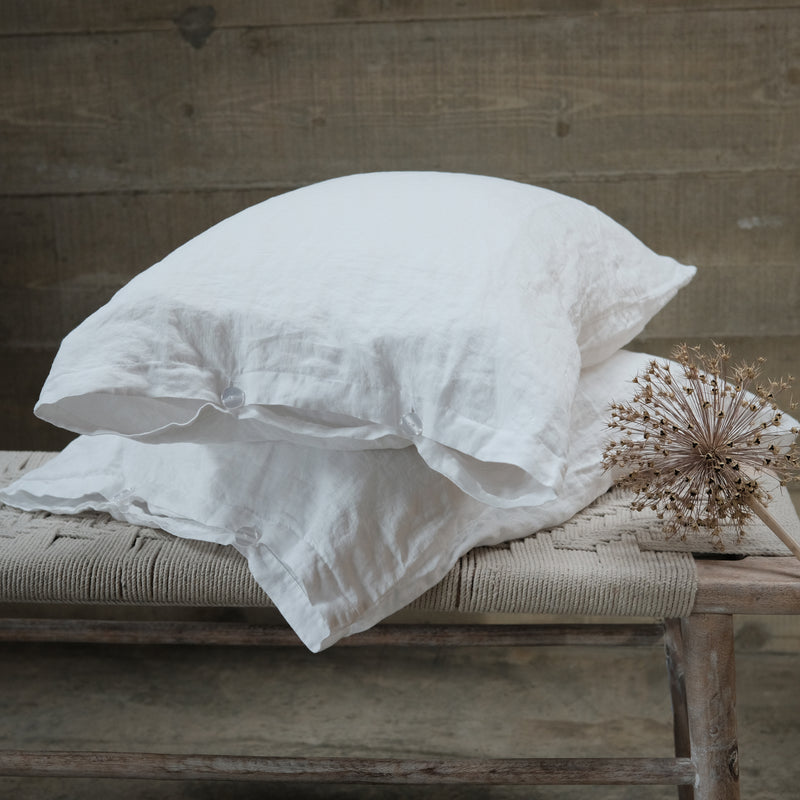 White Linen Pair of Pillowcases