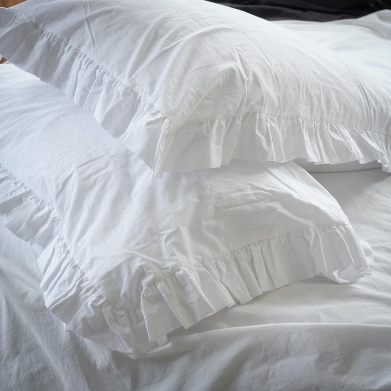 White Cotton Ruffle Pair of Pillowcases