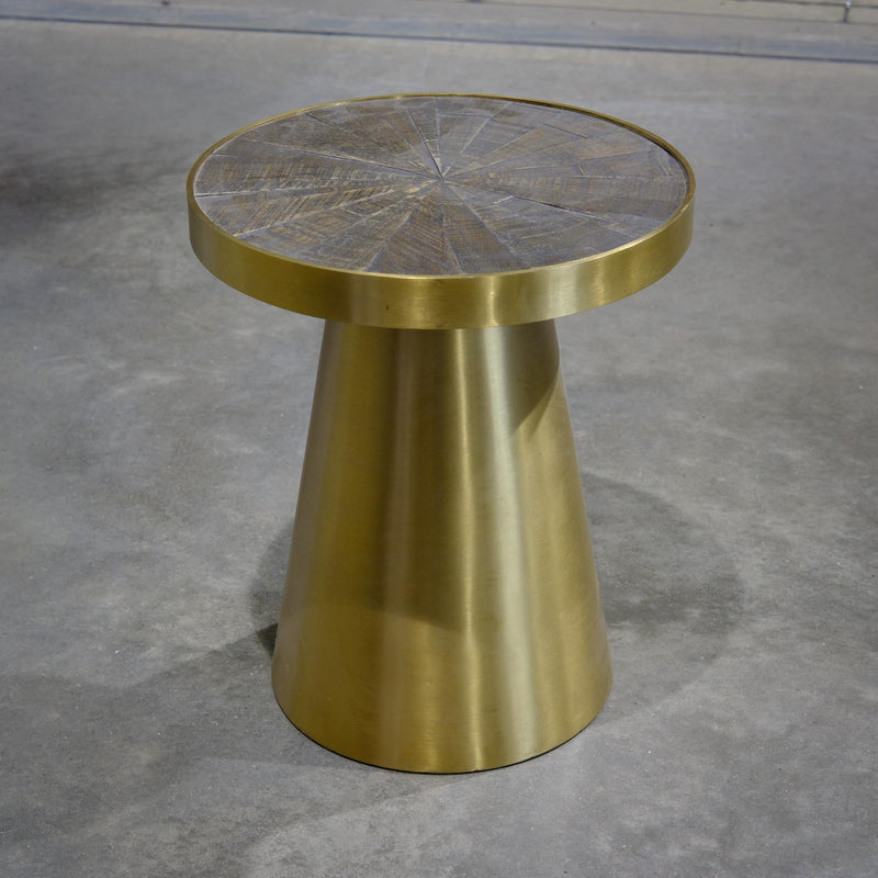 Oak Brushed Gold Toadstool Table