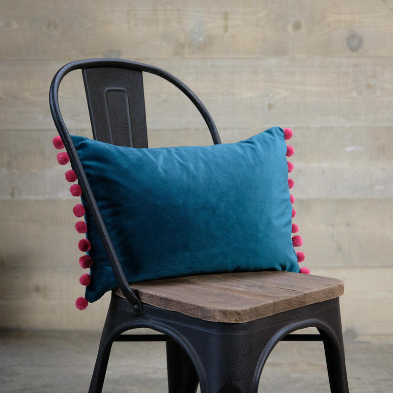 Teal Velvet Cushion with Pom Poms
