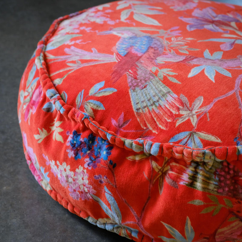 Snape Maltings Exotic Red Round Cushion