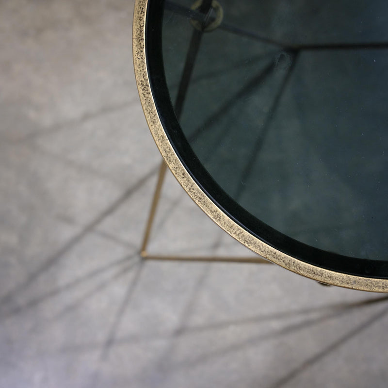 Gold and Smoke Glass Side Table