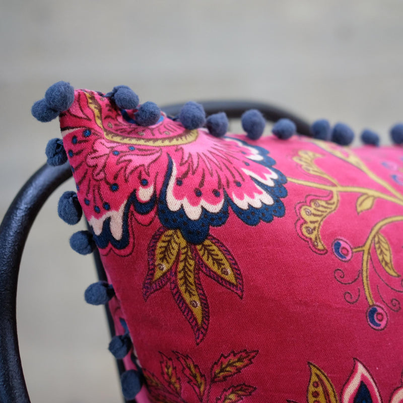 Floral Paisley Pomegranate Velvet Cushion