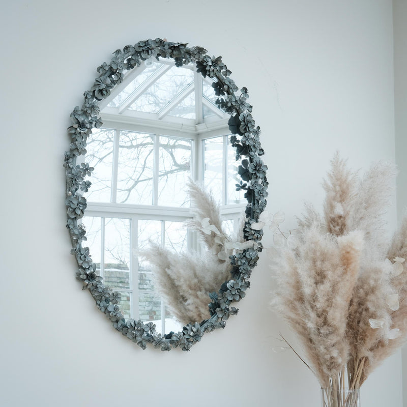 Antique Silver Oval Floral Mirror