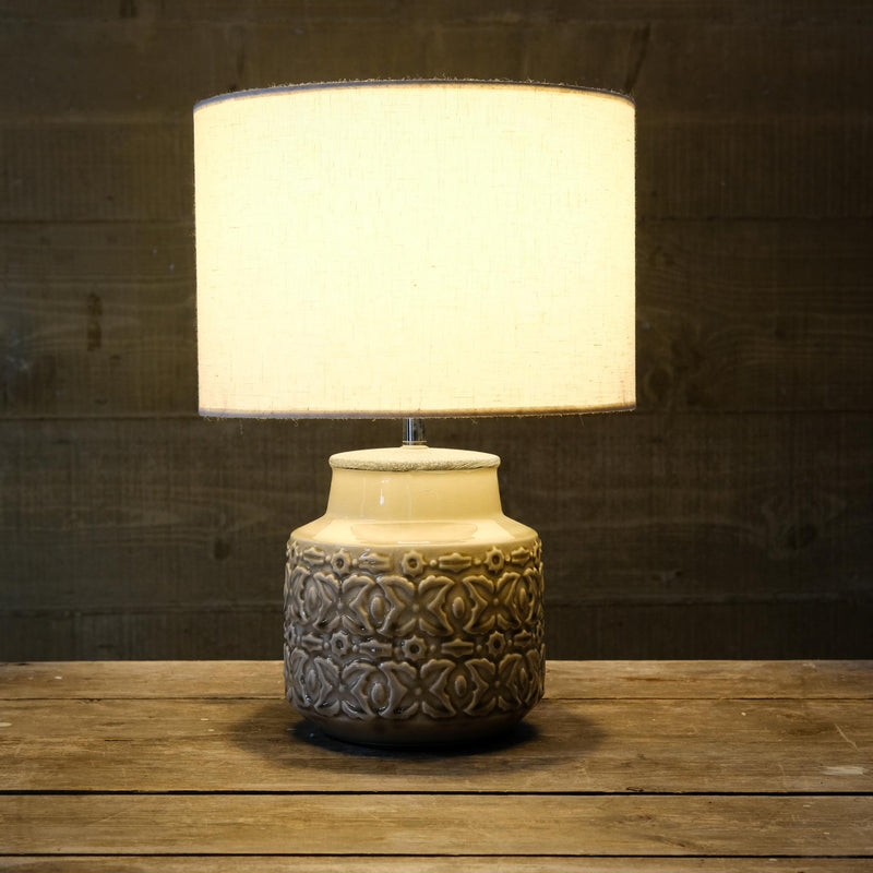 Snape Maltings Cream Patterned Ceramic Lamp