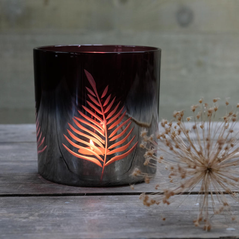 Burgundy Etched Leaf Candle Holder