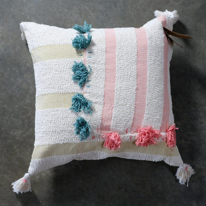 Snape Maltings Small Pastel Tonal Cushion Cover with Pink and Teal Poms