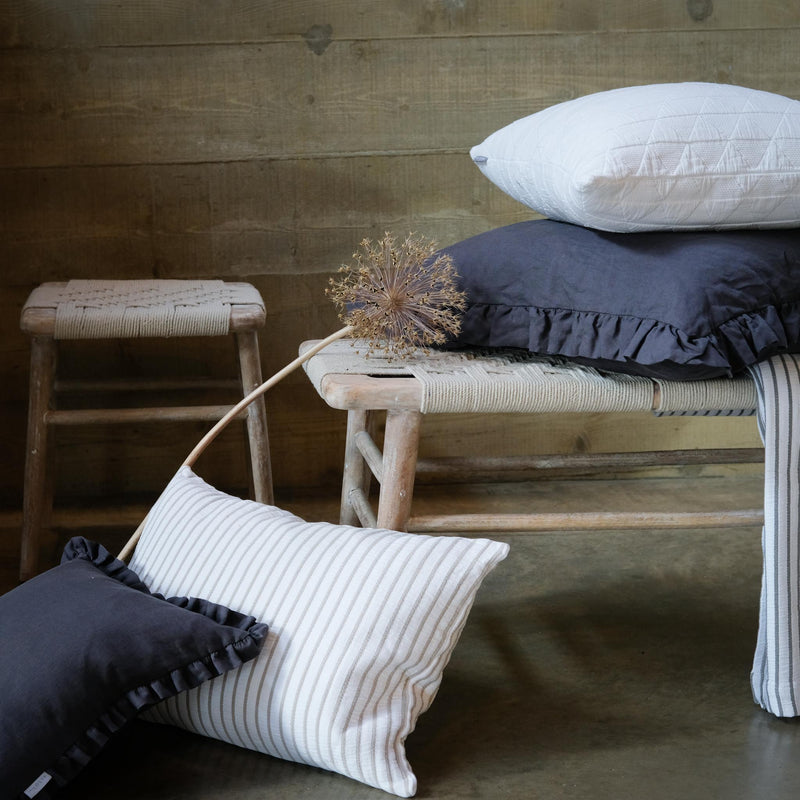 Taupe and White Stripe Cushion