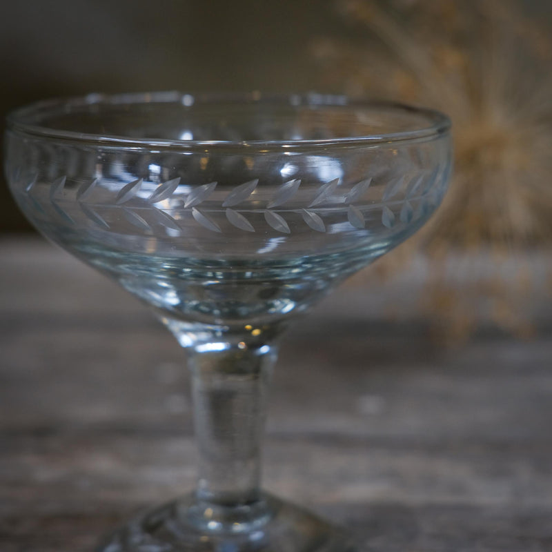 Snape Maltings Etched Leaf Champagne Coupe