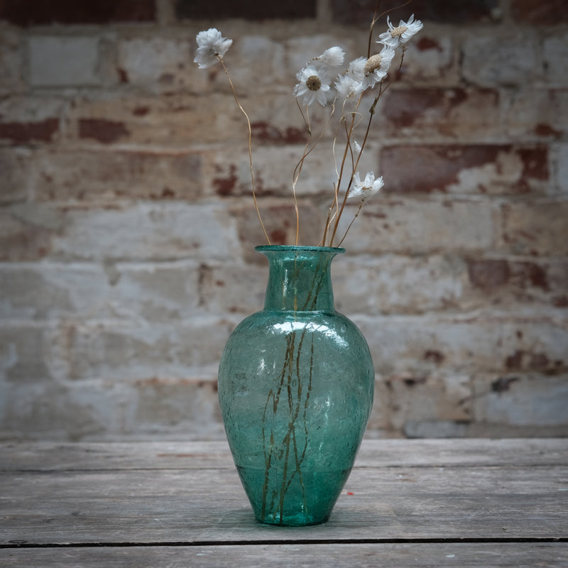 Charan Teal Recycled Glass Vase