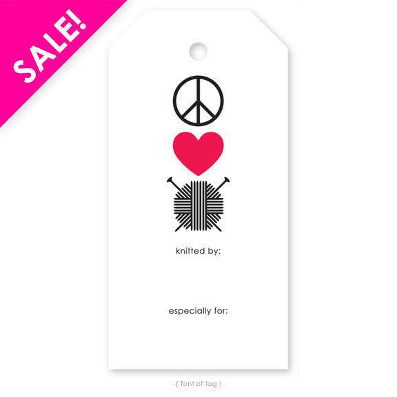 Peace, Love, Knit Gift Tag