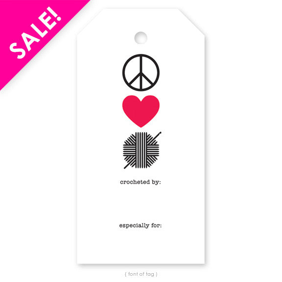 Peace, Love, Crochet Gift Tag